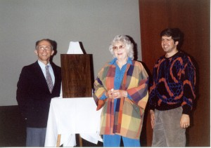 Lorrie Otto at the 1999 Wisconsin Conservation Hall of Fame Induction Ceremony at Sentry Theater, Stevens Point, Wisconsin. Shown left to right: Dave Kopitzke, Lorrie Otto, Bret Rappaport