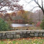 A lovely view of a pond built in the 1920s for the students to skate on during the winter.