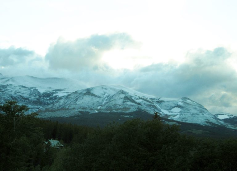 An early morning view of the Glacier Mountains as seen from our room at the Glacier Park Lodge, East Glacier, Montana.