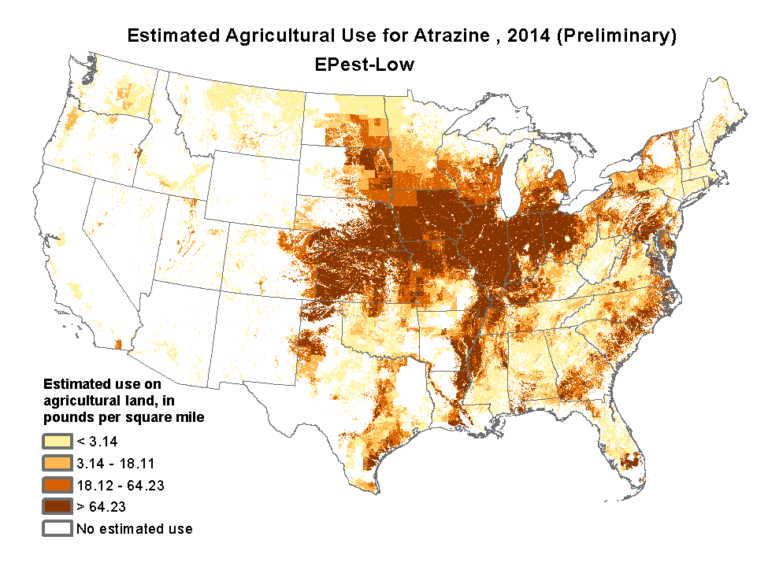 Map of estimated agricultural use for Atrazine, 2014 courtesy of USGS.
